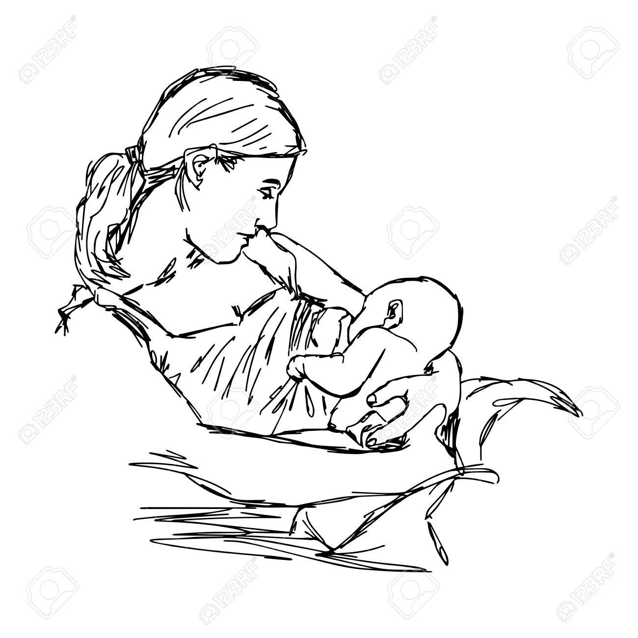 1300x1300 Illustration Doodle Of Sketch Mother Is Breast Feeding For Her