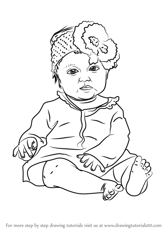 567x800 Learn How To Draw Sitting Baby Girl (Other People) Step By Step