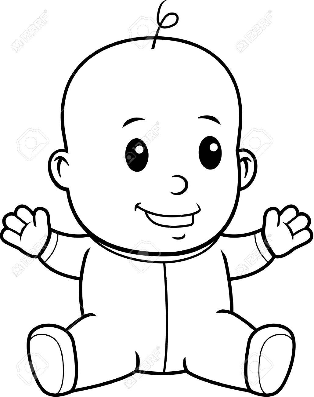 1029x1300 A Happy Cartoon Baby Sitting And Smiling. Royalty Free Cliparts