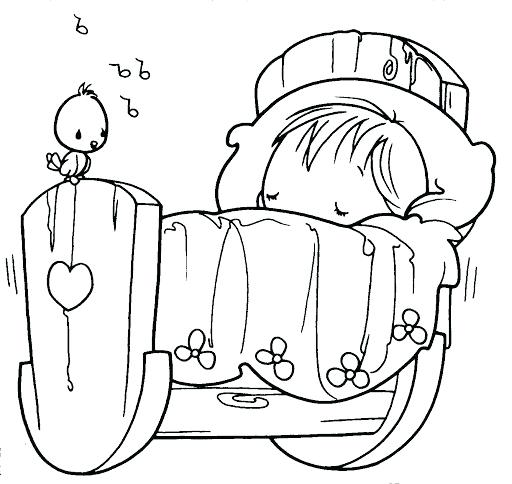 512x484 Coloring Pages Of Babies Sleeping Baby Precious Moments Coloring