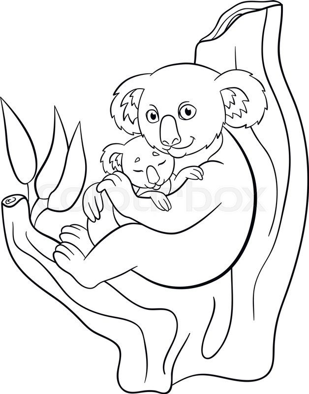 628x800 Coloring Pages. Mother Koala With Her Little Cute Sleeping Baby