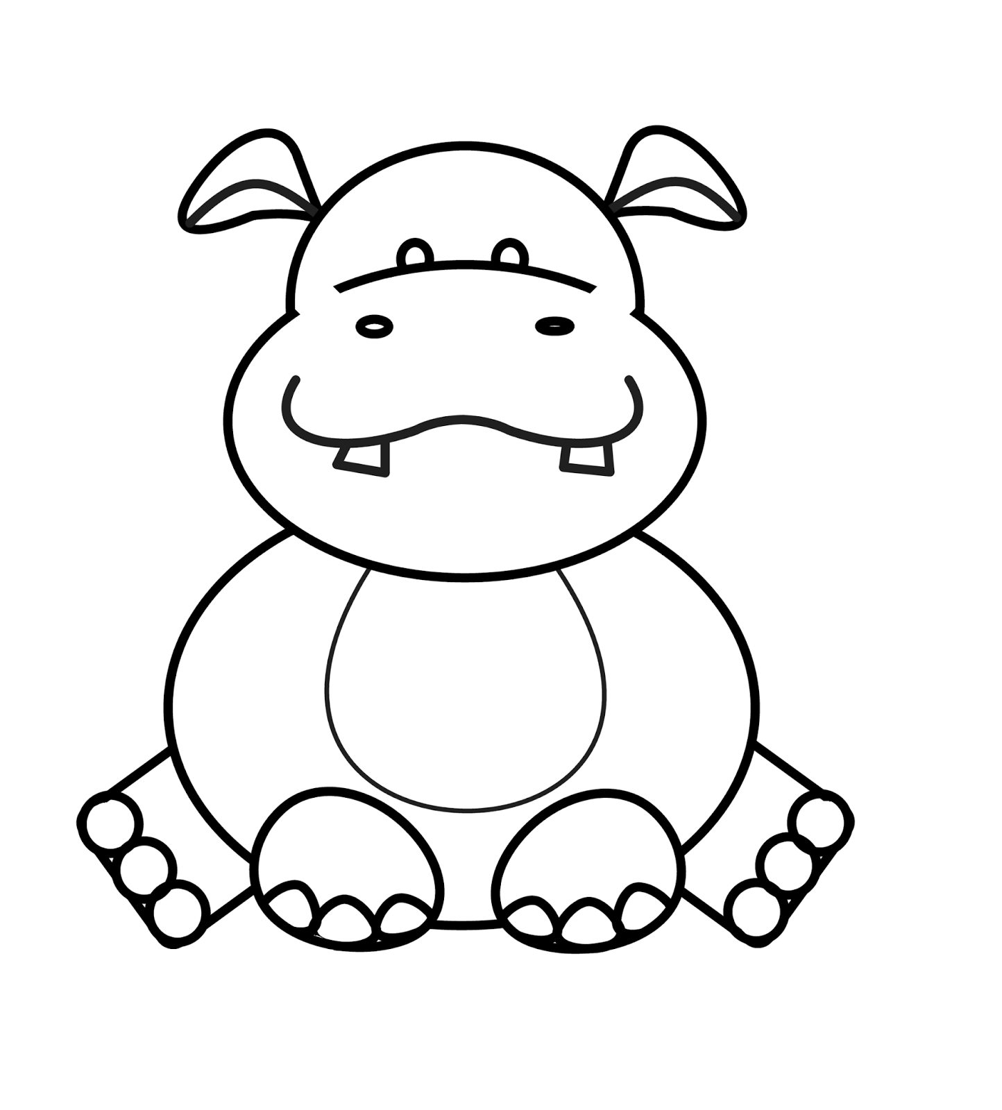 1444x1600 Coloring Pages Gorgeous Hippopotamus Drawings Drawn Hippo Baby
