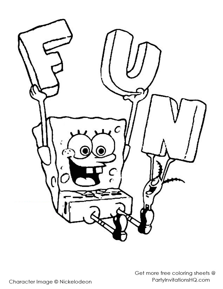 850x1100 Printable Halloween Calendar Spongebob Squarepants Coloring Sheet