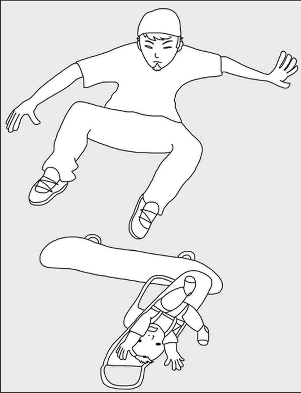 972x1272 Skateboard Baby Stroller Drawing