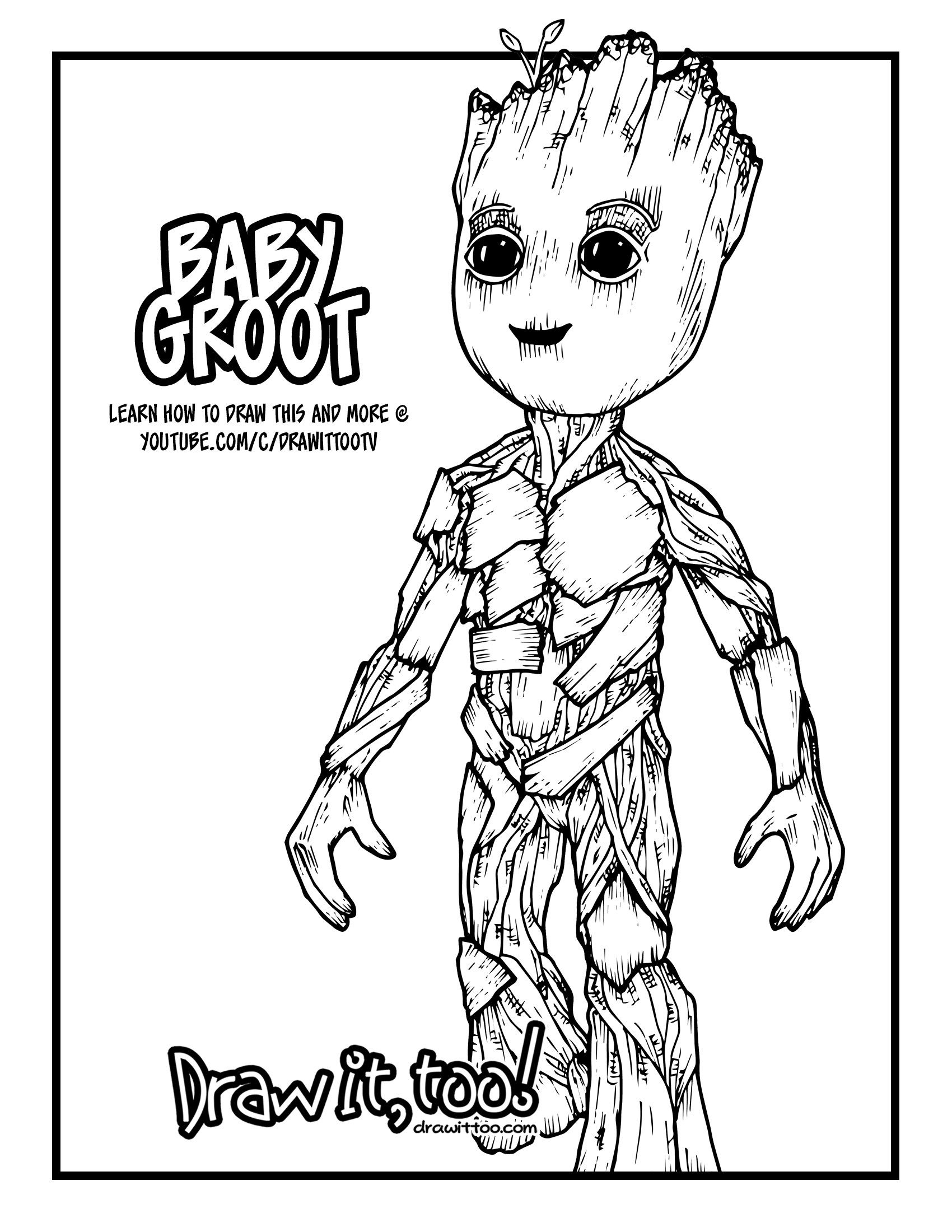 1700x2200 Baby Groot (Guardians Of The Galaxy Vol. 2) Drawing Tutorial