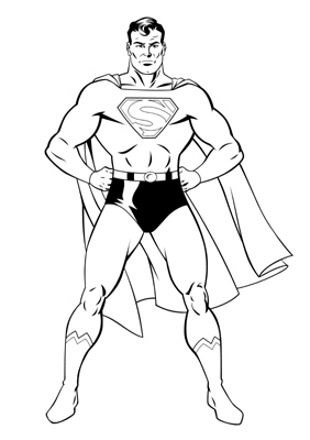 282x400 Drawn Superman Line Drawing