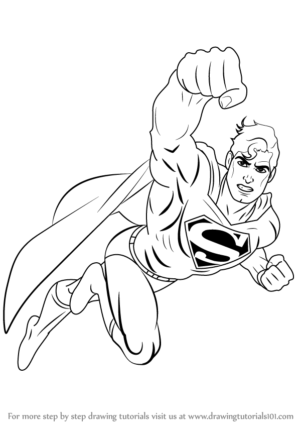 598x844 Learn How To Draw Superman Flying (Superman) Step By Step