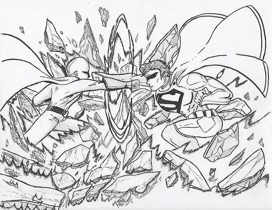 900x694 Saitama Vs. Superman Drawing By Preston Watkins