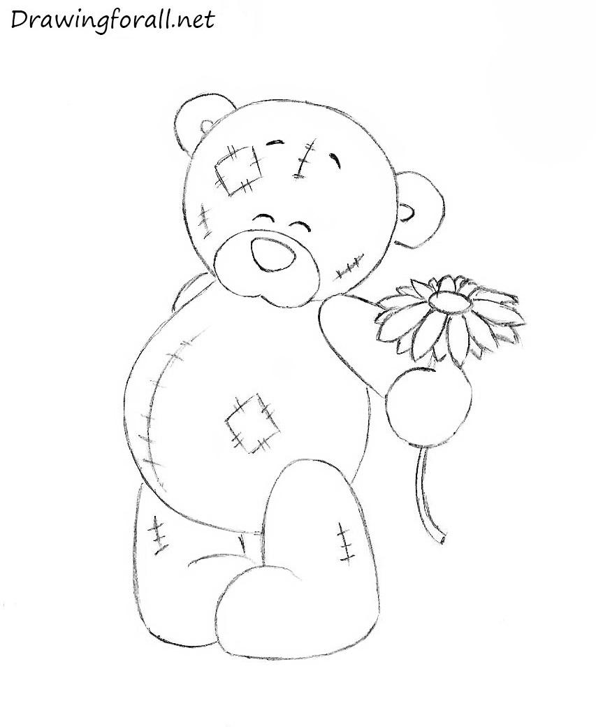 853x1040 Easy Teddy Bear Drawing How To Draw A Cartoon Baby Teddy Bear Easy