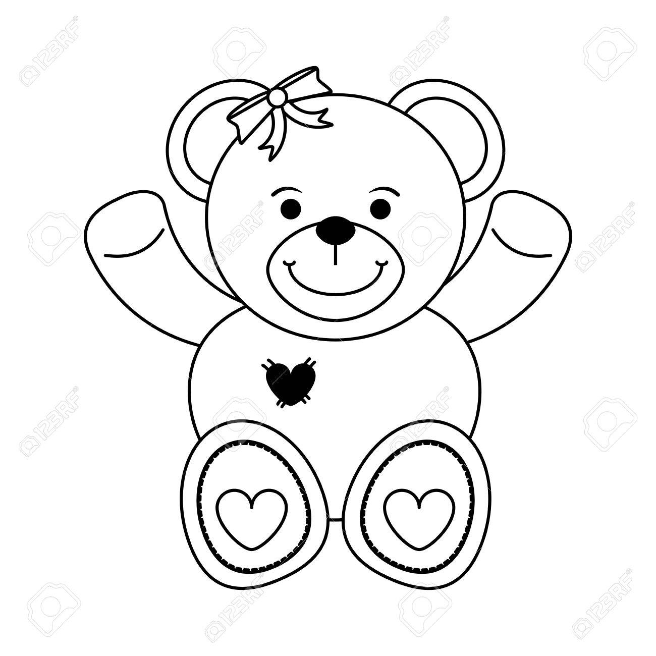 1300x1300 Girly Teddy Bear Baby Or Shower Related Icon Image Vector