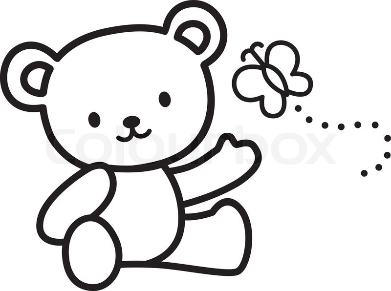800x596 Illustration Of Very Cute Teddy Bear With Butterfly Stock Vector