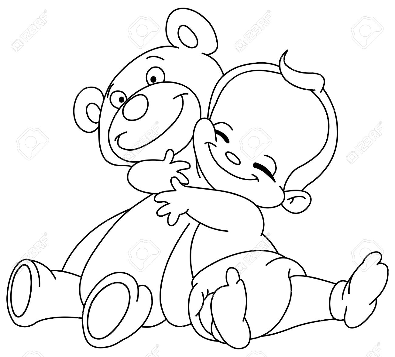 1300x1175 Outlined Cheerful Baby Hugging His Teddy Bear Royalty Free