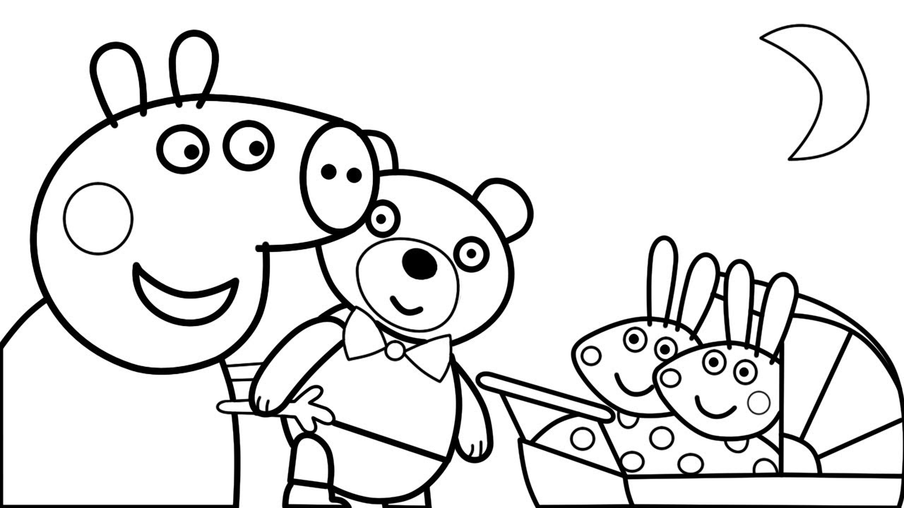 1280x720 Peppa Pig With Teddy Bear Toy And Little Baby Alexander Coloring