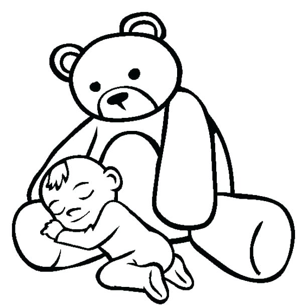 600x612 Pooh Bear Coloring Page Bear Color Page Baby Asleep In The Lap