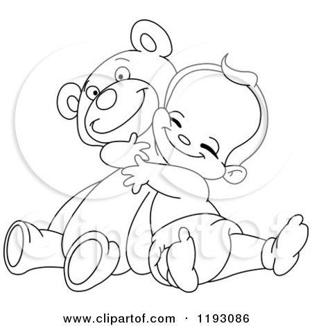450x470 Clipart Of A Cartoon Rear View Of A Teddy Bear Drawing On A Wall