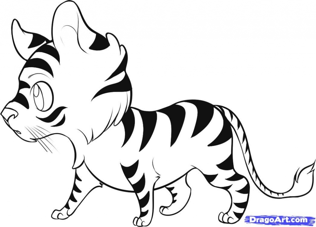 1024x736 Easy Tiger Drawing How To Draw A Tiger Cub Youtube