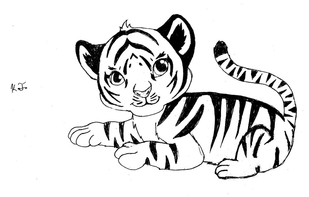 1024x652 Drawn Tiiger Baby Tiger