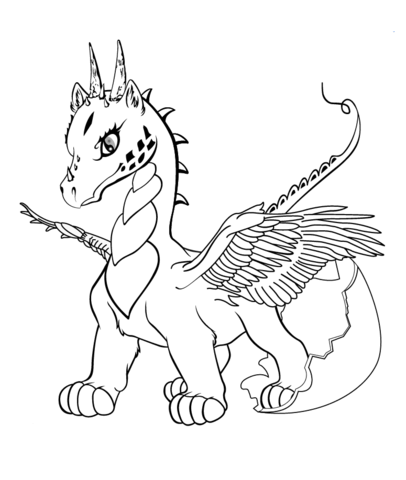 406x480 Baby Dragon Coloring Page Free Printable Coloring Pages