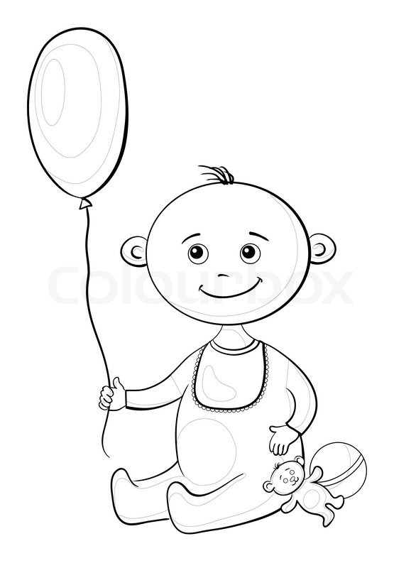 579x800 Baby With A Toys, Contours Stock Photo Colourbox