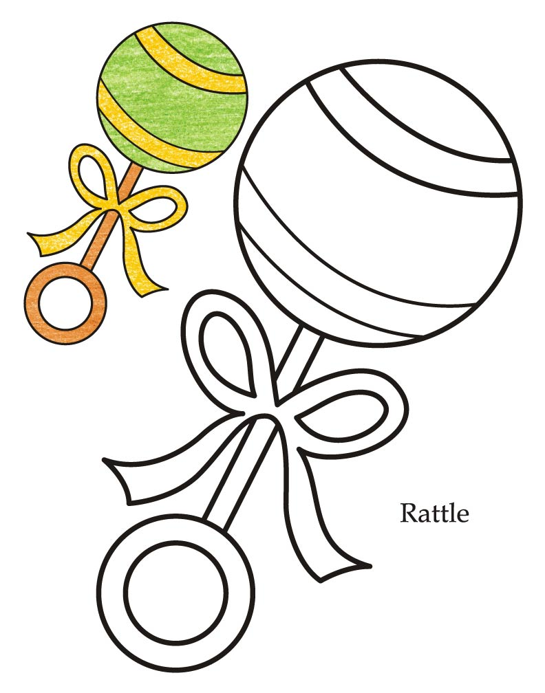 792x1008 Bottle Rattle Baby Coloring Page Baby Blocks Coloring Pages