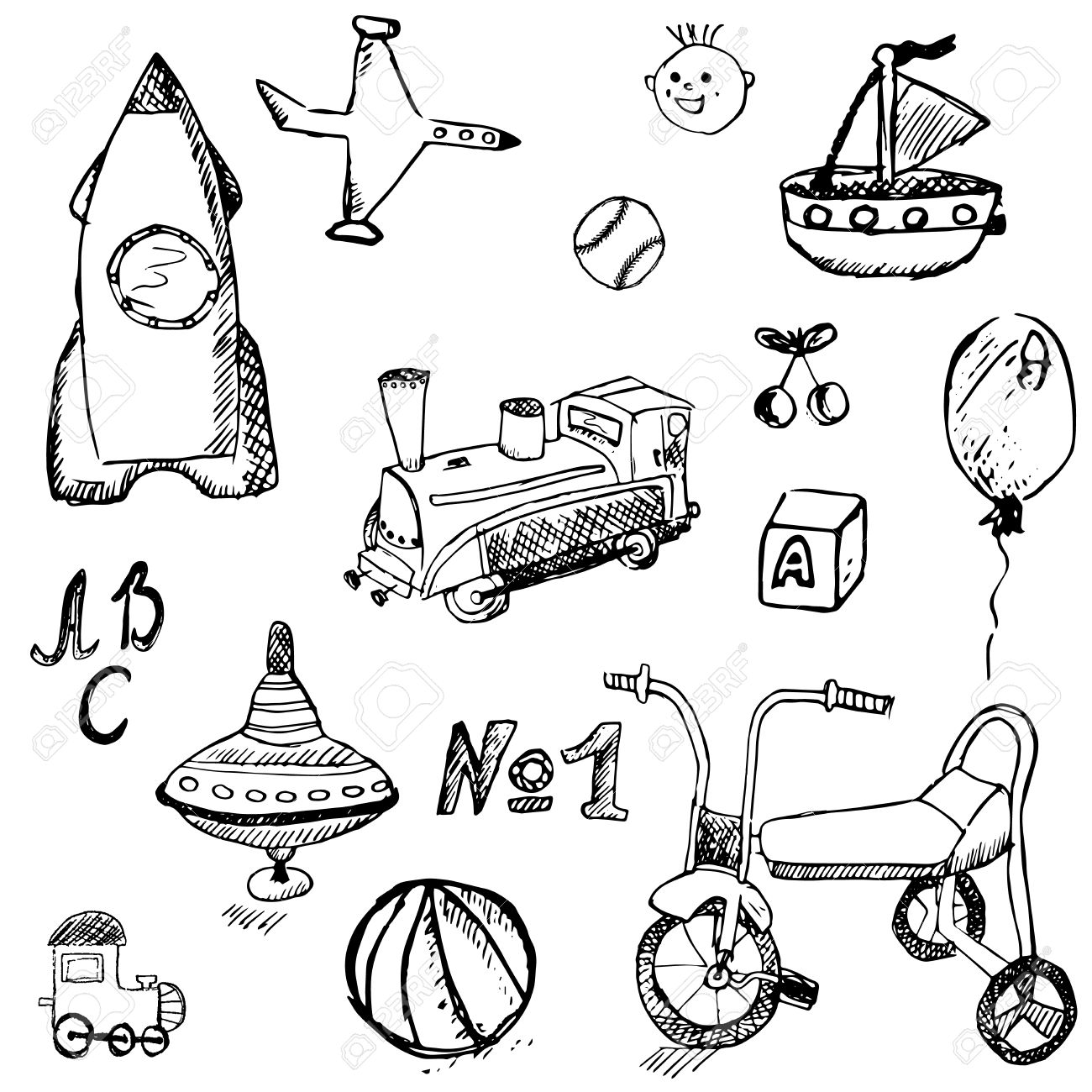 1300x1300 Baby, Child Toys Set Hand Drawn Sketch, Isolated On White