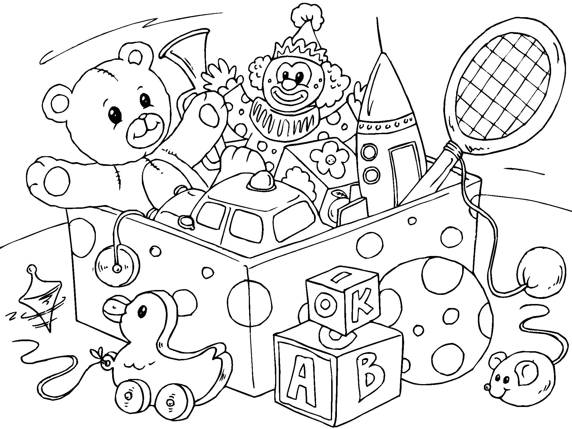 2000x1500 Dick And June Play With Their Toys Coloring Page Free Pages