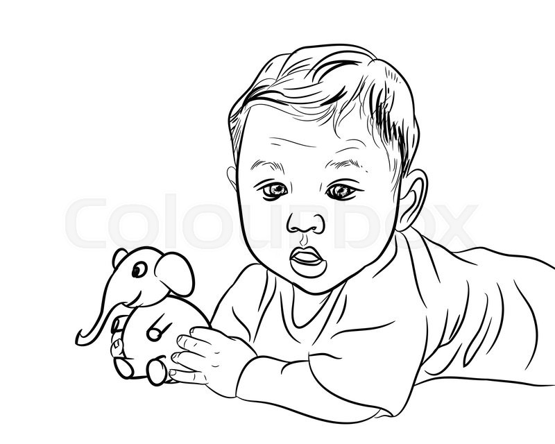 800x640 Drawing Of Male Baby Playing Elephant Toy On White Stock Vector