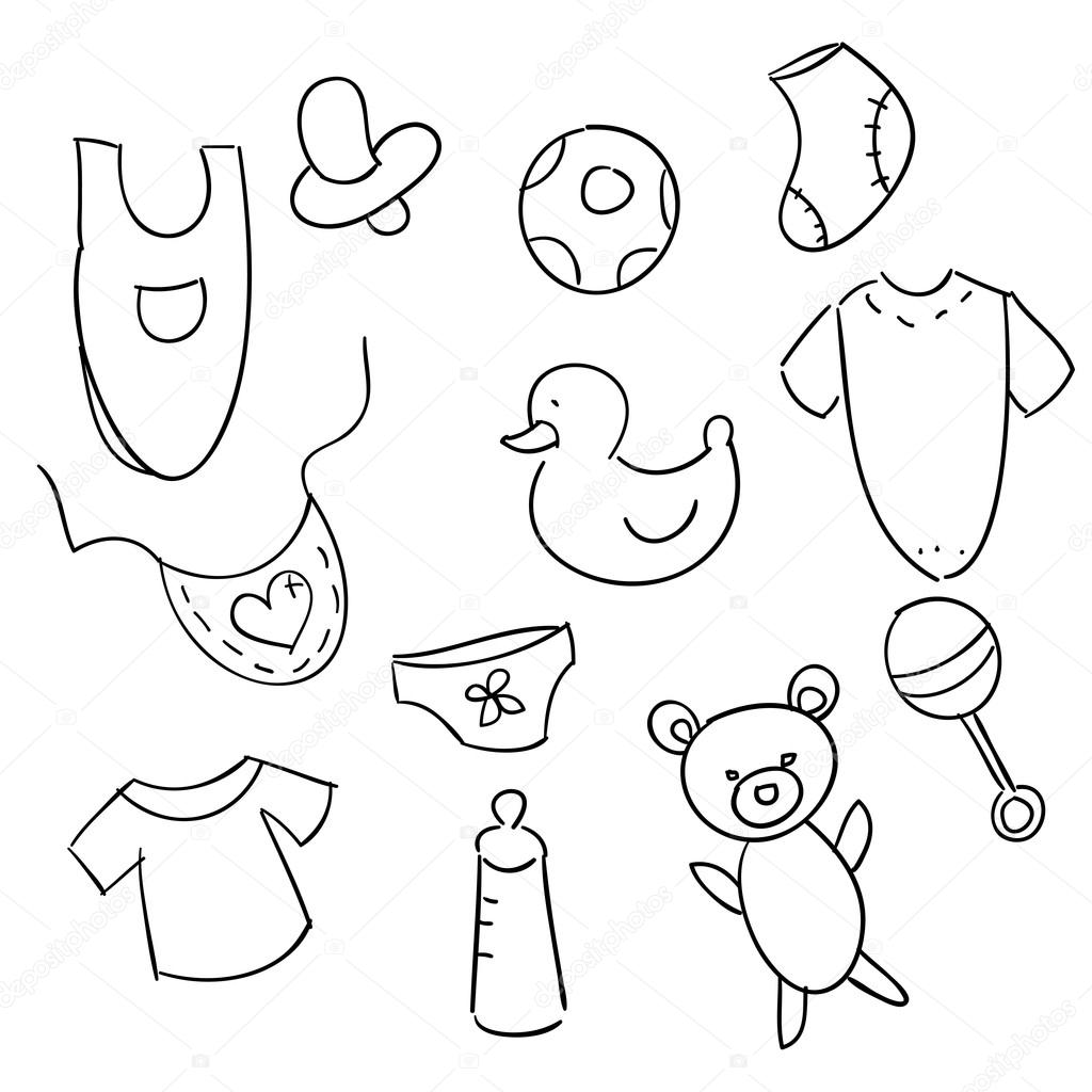 1024x1024 Hand Drawn Baby Icons Stock Vector Kariiika