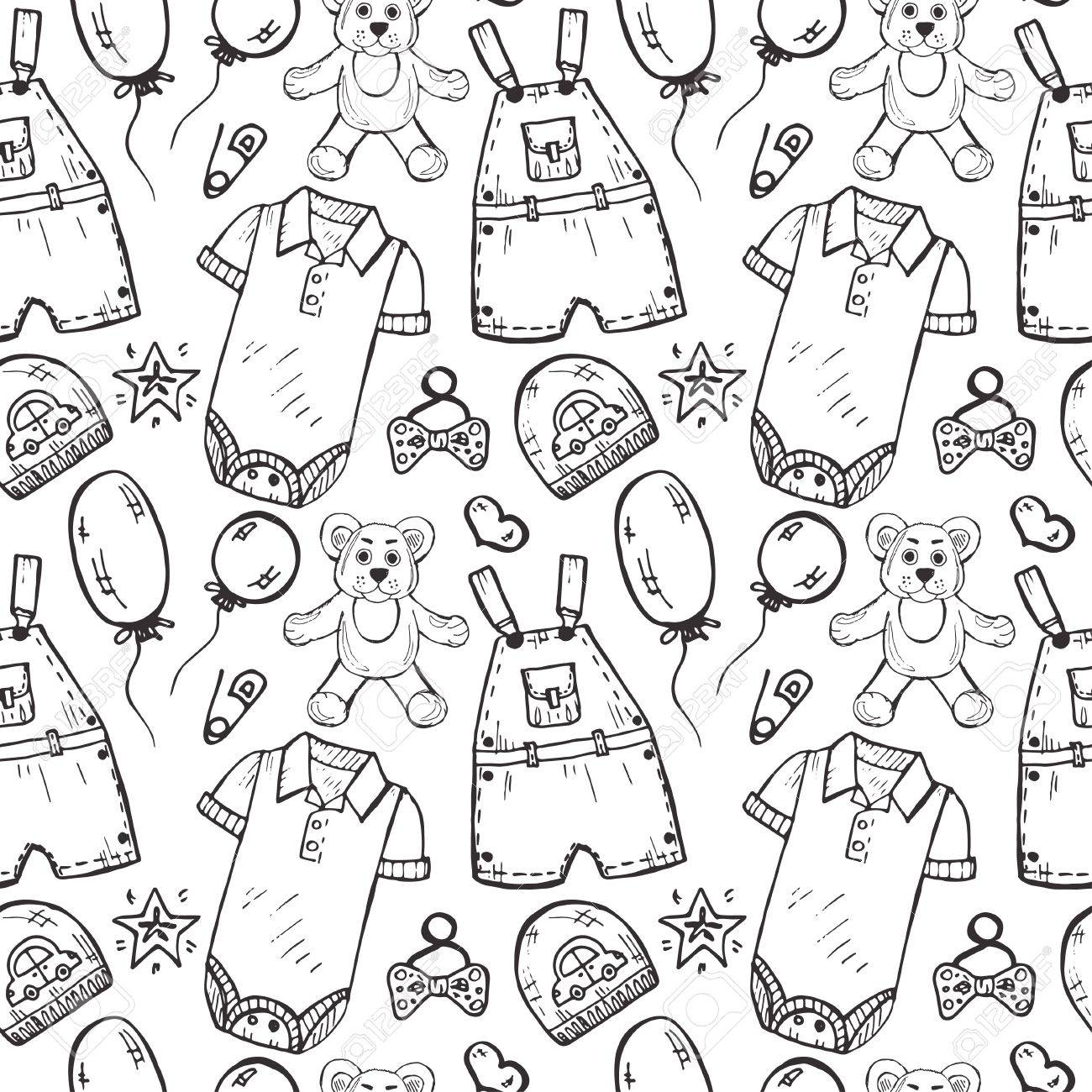 1300x1300 Seamless Pattern With Cute Hand Drawn Clothes And Toys
