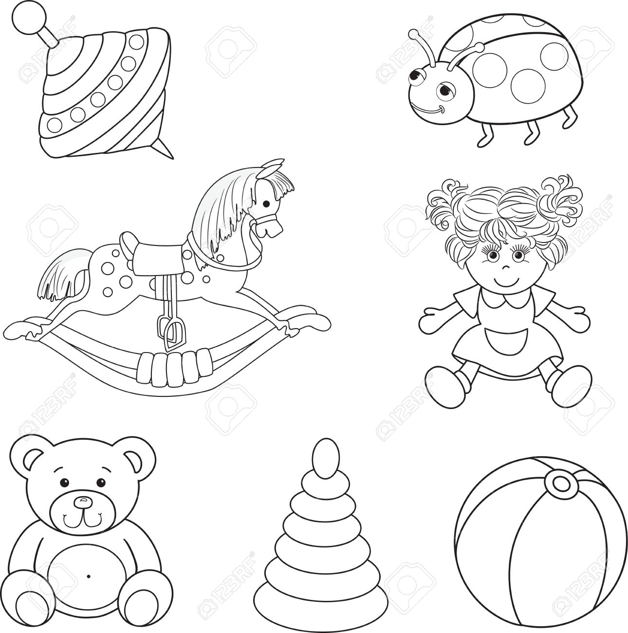 1290x1300 Set Of Outlined Baby S Toys Elements Vector Illustration Royalty