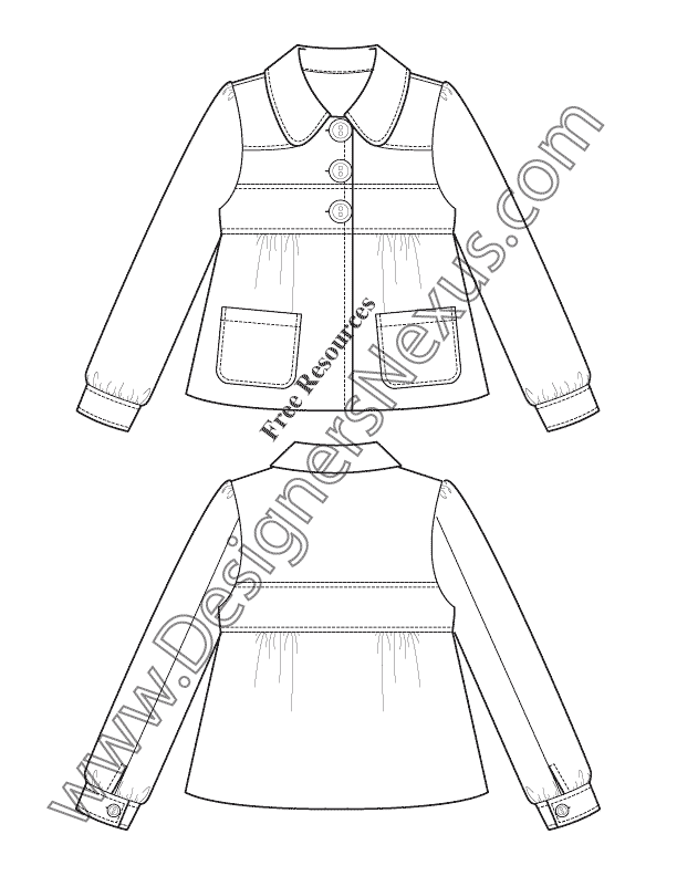 612x792 Free Downloads Illustrator Coat Flat Sketches