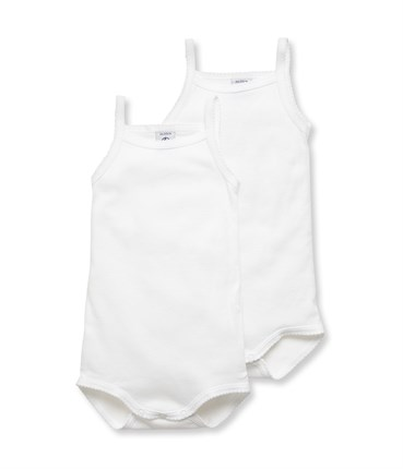 369x430 Pack Of 2 Baby Plain Bodysuits With Straps