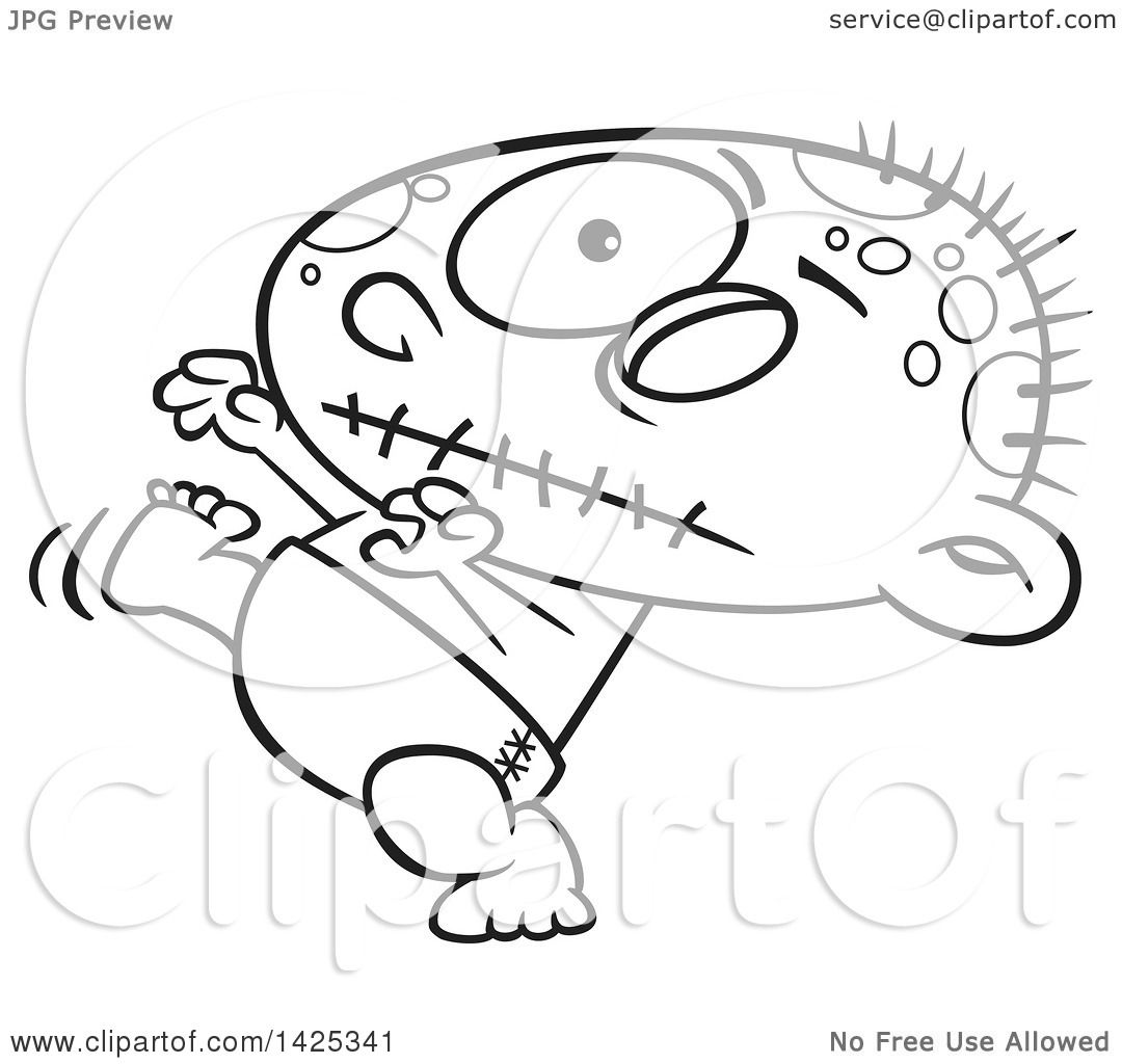 1080x1024 Clipart Of A Cartoon Black And White Lineart Zombie Baby Walking