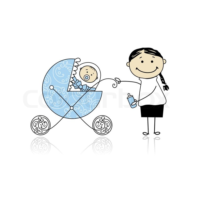 800x800 Mother With Baby In Buggy Walking Stock Vector Colourbox