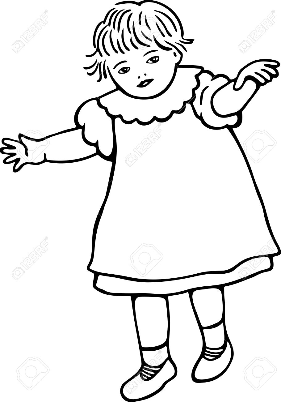 910x1300 Simple Black And White Line Drawing Of A Little Toddler Girl