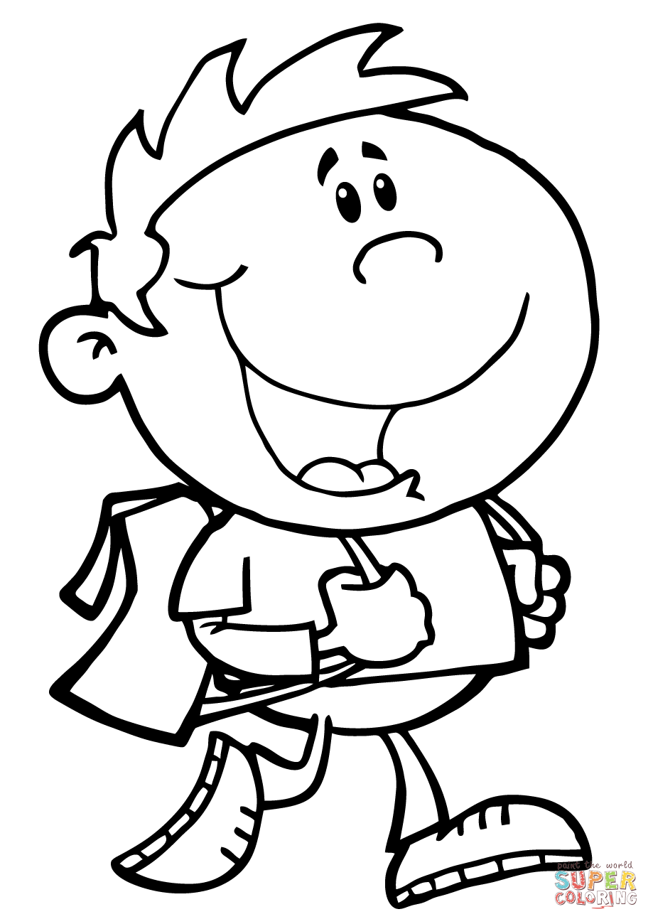 919x1300 Walking School Boy Coloring Page Free Printable Coloring Pages