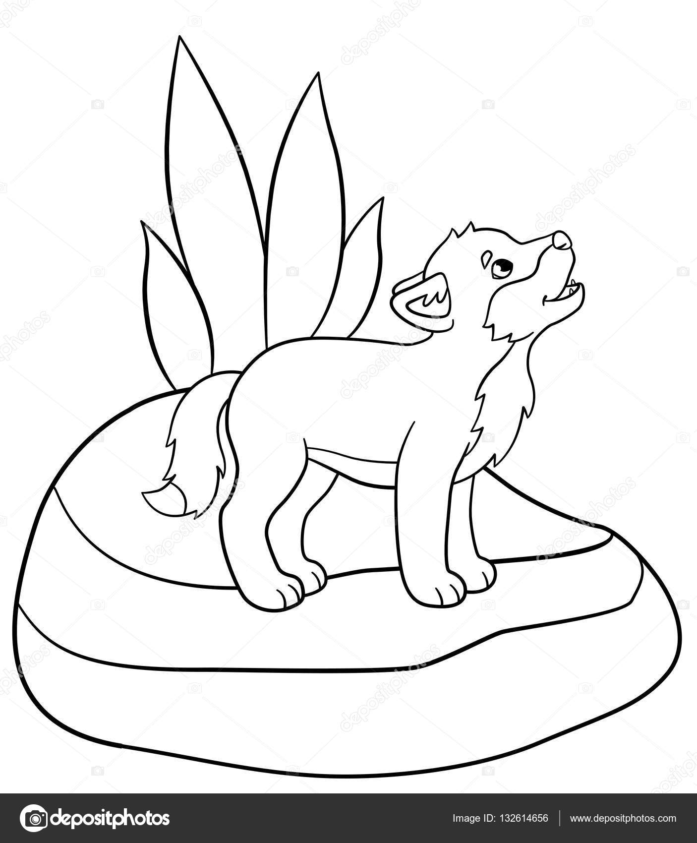 1406x1700 Coloring Pages. Little Cute Baby Wolf Stands And Howls. Stock