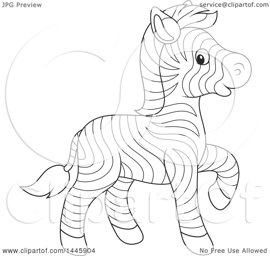 1080x1024 Clipart Of A Cartoon Black And White Lineart Cute Baby Zebra