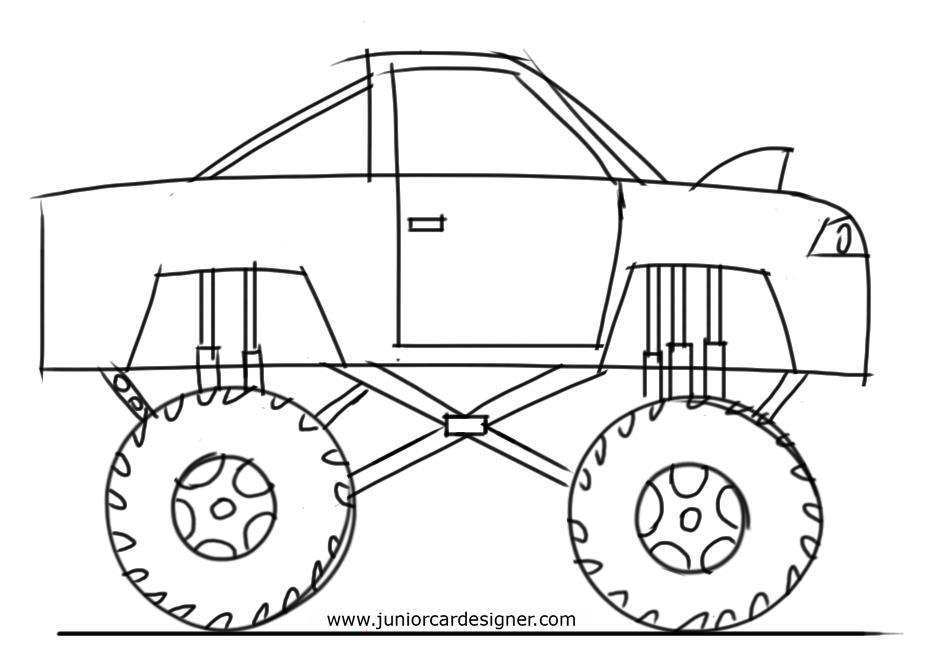 926x668 Learn How To Draw A Monster Truck For Kids Step By Step Junior