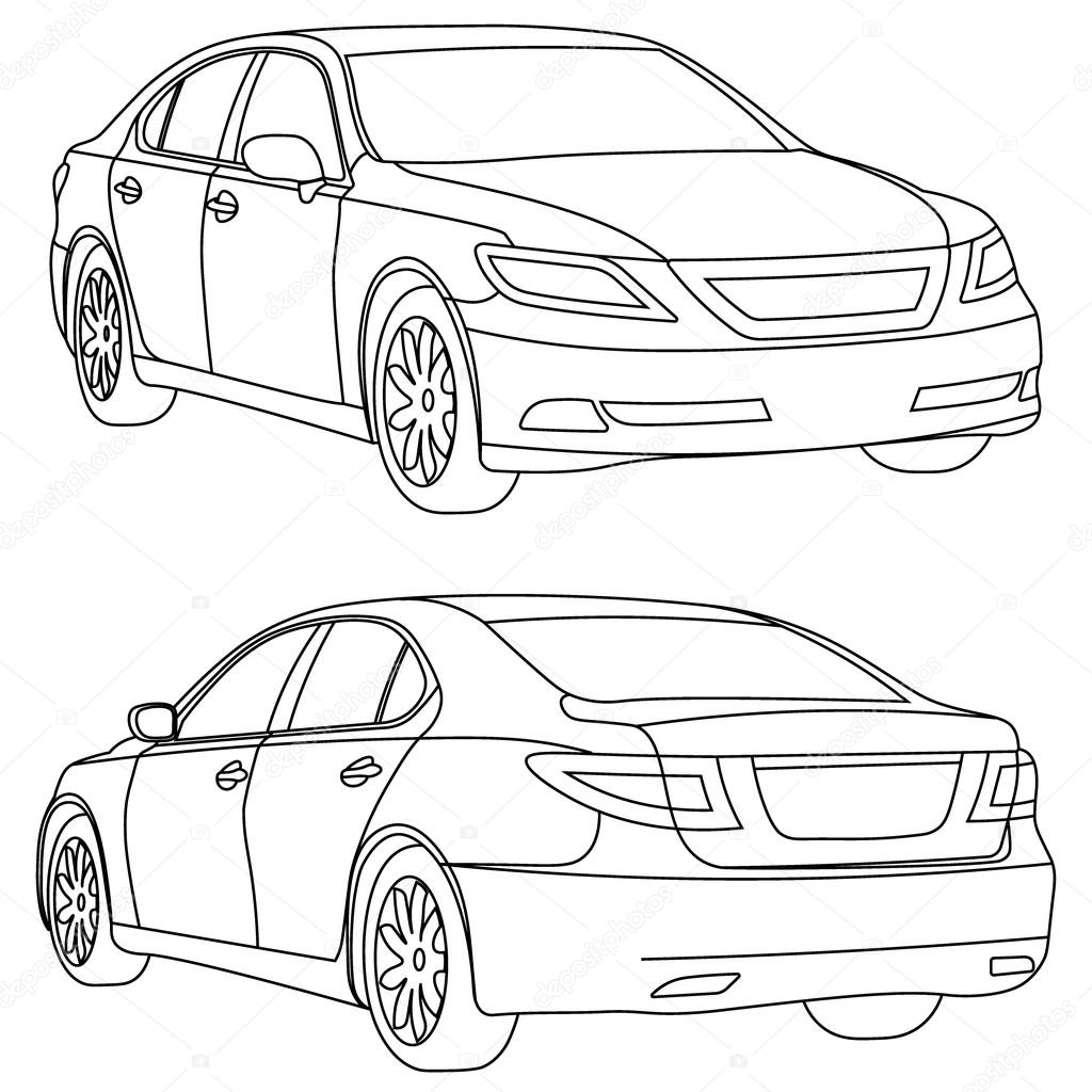1024x1024 Vector Car Two View Front And Back Stock Vector Galimovma79