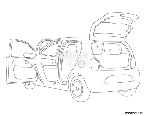 500x400 Hatch Back Vehicle That Open Doors And Rear Hatch, Line Drawing