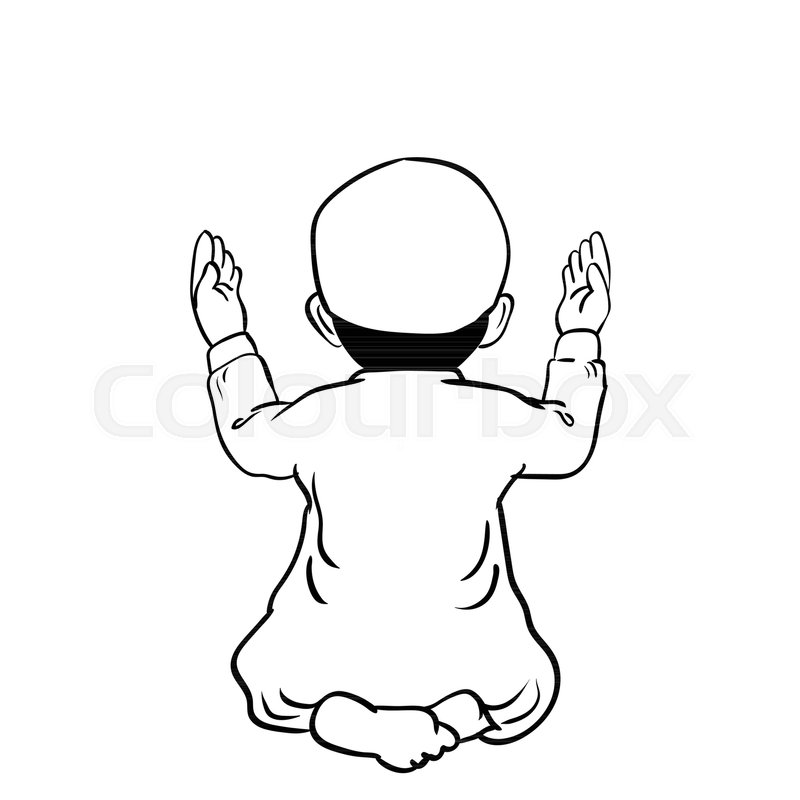 800x800 Hand Drawn Muslim Boy Have A Pray Time With Hands Up In The Air