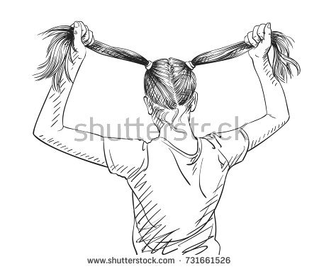 450x380 Sketch Of Girl Holding Her Long Hair In Two Ponytail, View