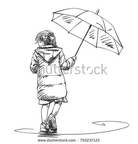 450x470 Vector Sketch Of Little Girl Walking Under Umbrella In Rain