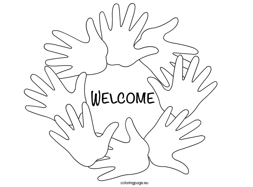 804x595 Welcome Hands Black And White Coloring Page