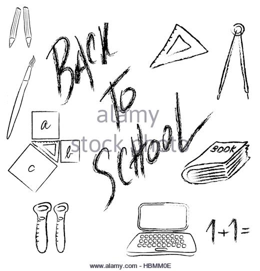 520x540 Back School Supplies Vector Hand Stock Photos Amp Back School