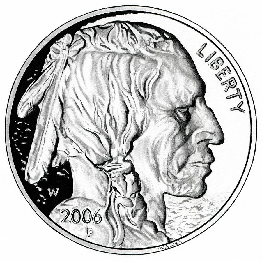900x896 Buffalo Nickel Drawing By Fred Larucci