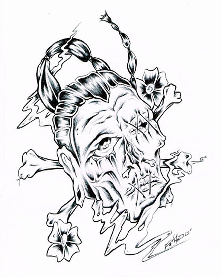 720x900 Shrunken Head Drawing By Chris Carey
