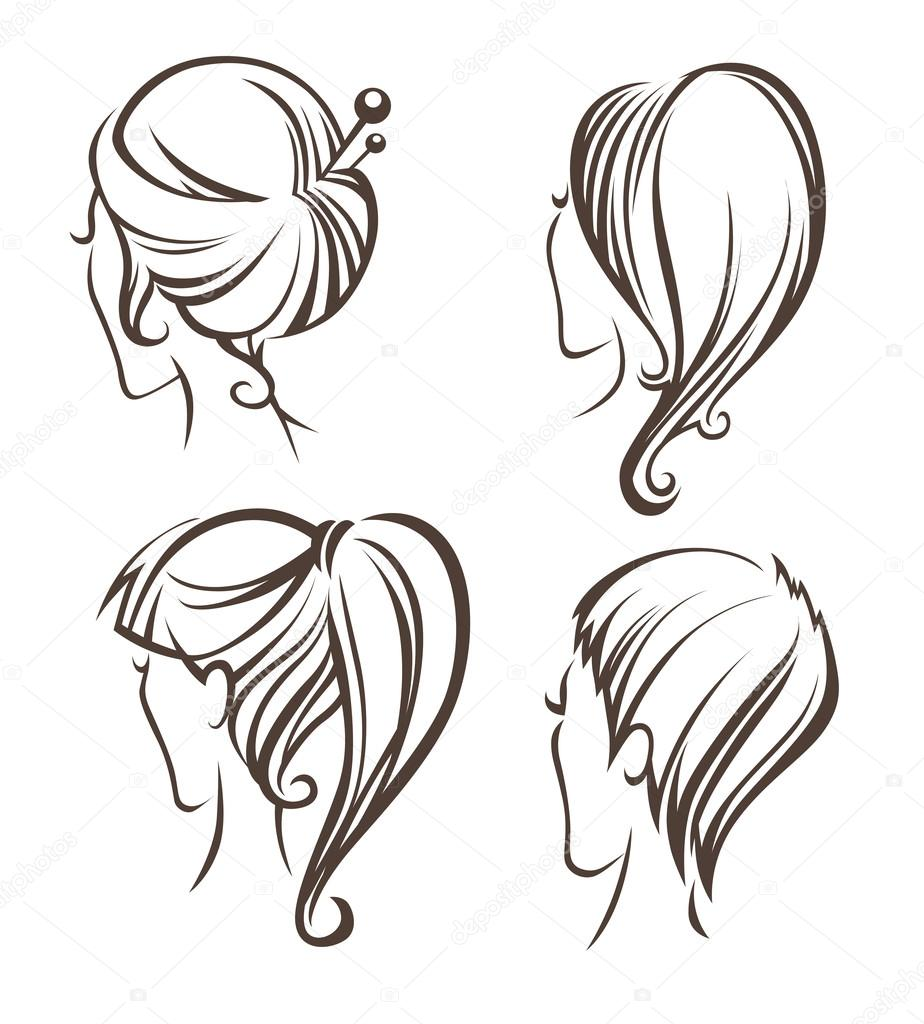 924x1024 Women Head Images And Hairstyles On Back Side Stock Vector