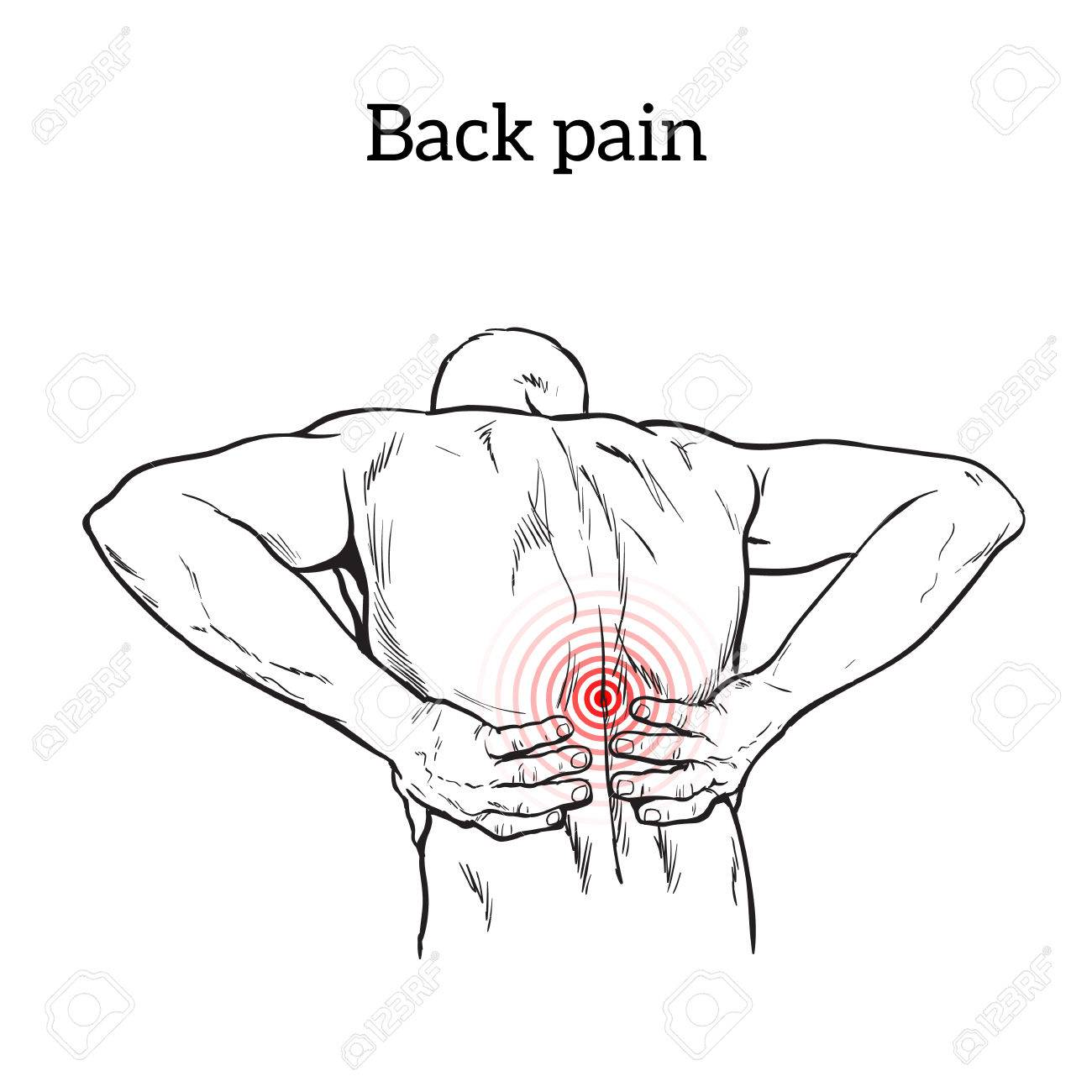 1300x1300 Lumbar Pain In A Man Back Pain In A Human Vector Outline Sketch